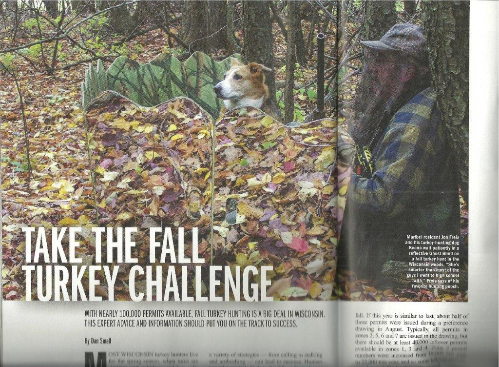 Fall turkey hunting with a dog in Wisconsin Sportsman magazine, November 2015 issue.
